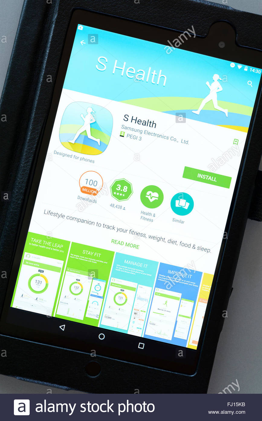fitness tracker s health app on an android tablet pc dorset stock