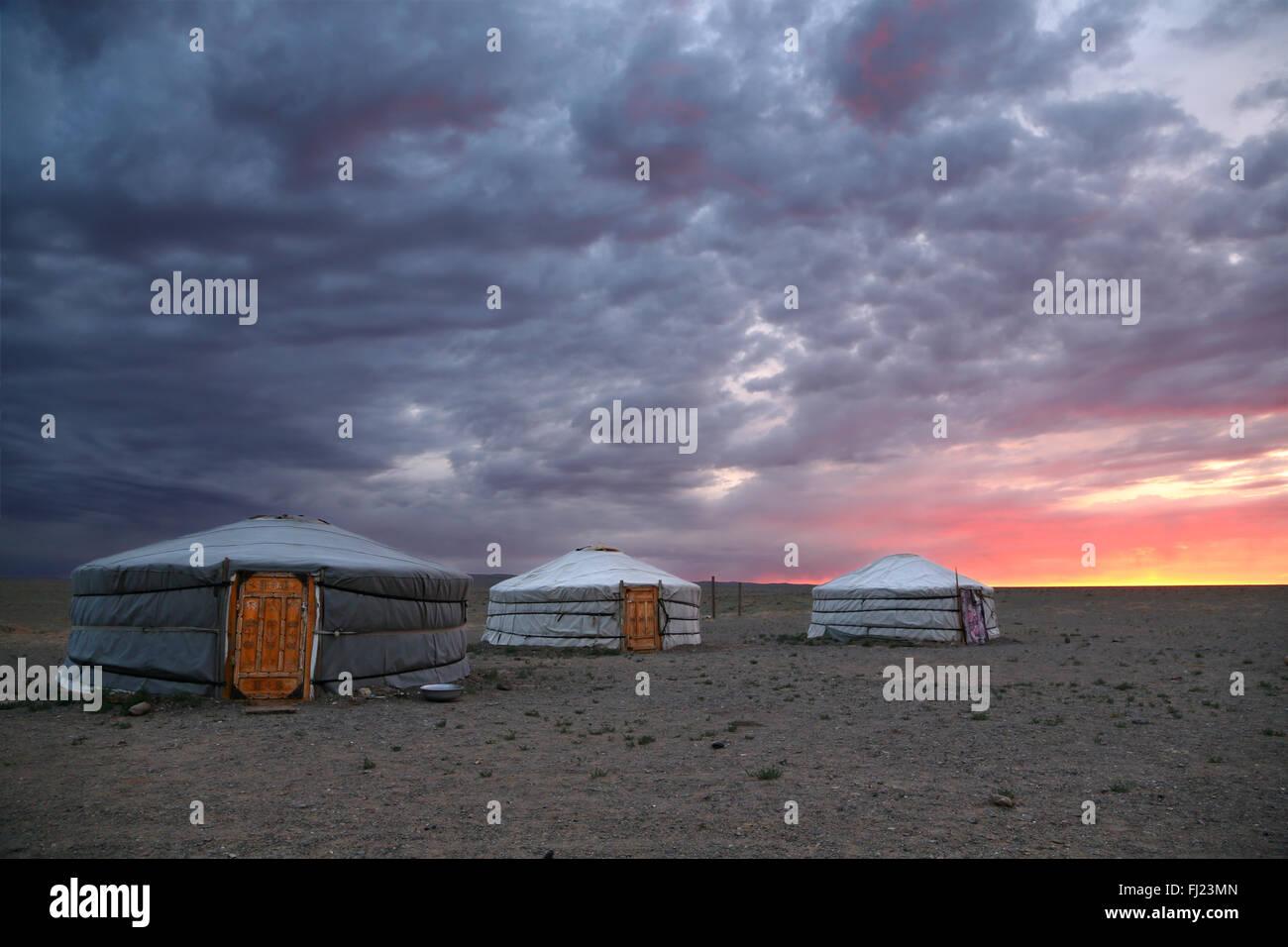 Mongolia sunrise on a yurt camp in Gobi desert - Stock Image