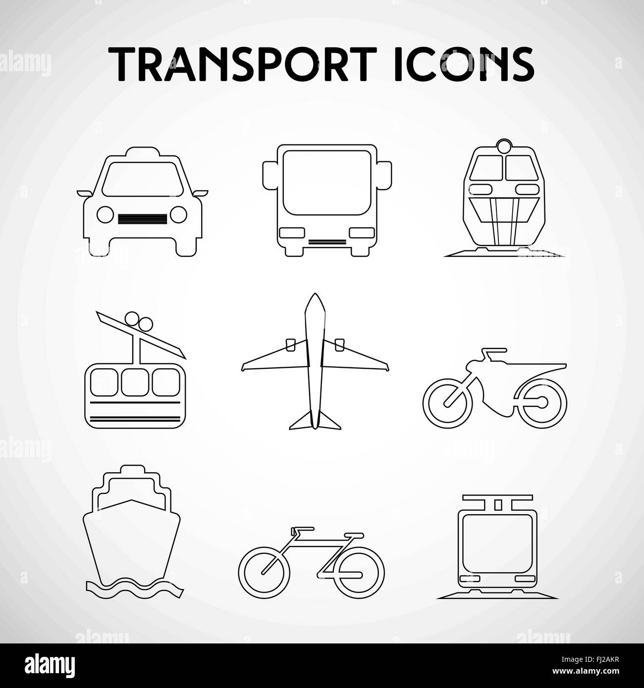 Transportation Big Icon Set. Different types of vehicles. Car. Bus ...