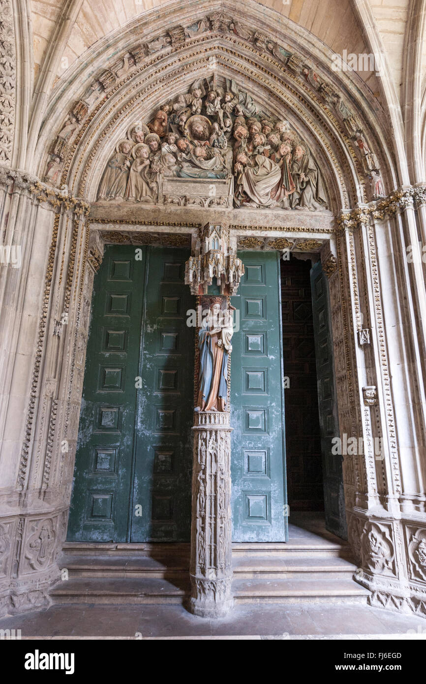 Polychromate Puerta del Amparo with the Virgin Mary in Catedral de Pamplona, Navarra, Spain Stock Photo