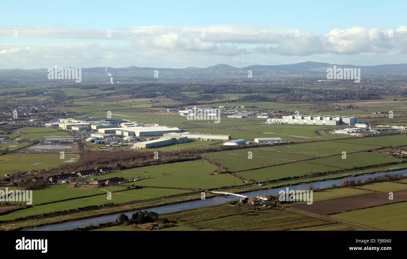 aerial view of Hawarden Airport, home of British Aerospace Airbus production, near Chester, Cheshire, UK - Stock Image