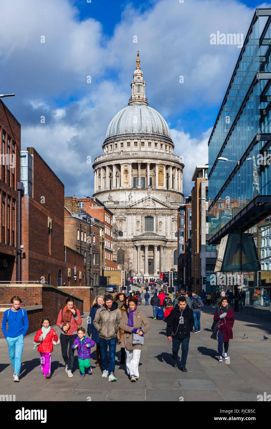 St Paul's Cathedral from Peter's Hill, London, England, UK - Stock Image