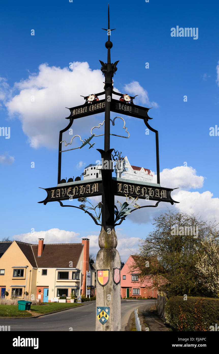 The village sign of Lavenham, Suffolk, England, UK. Stock Photo