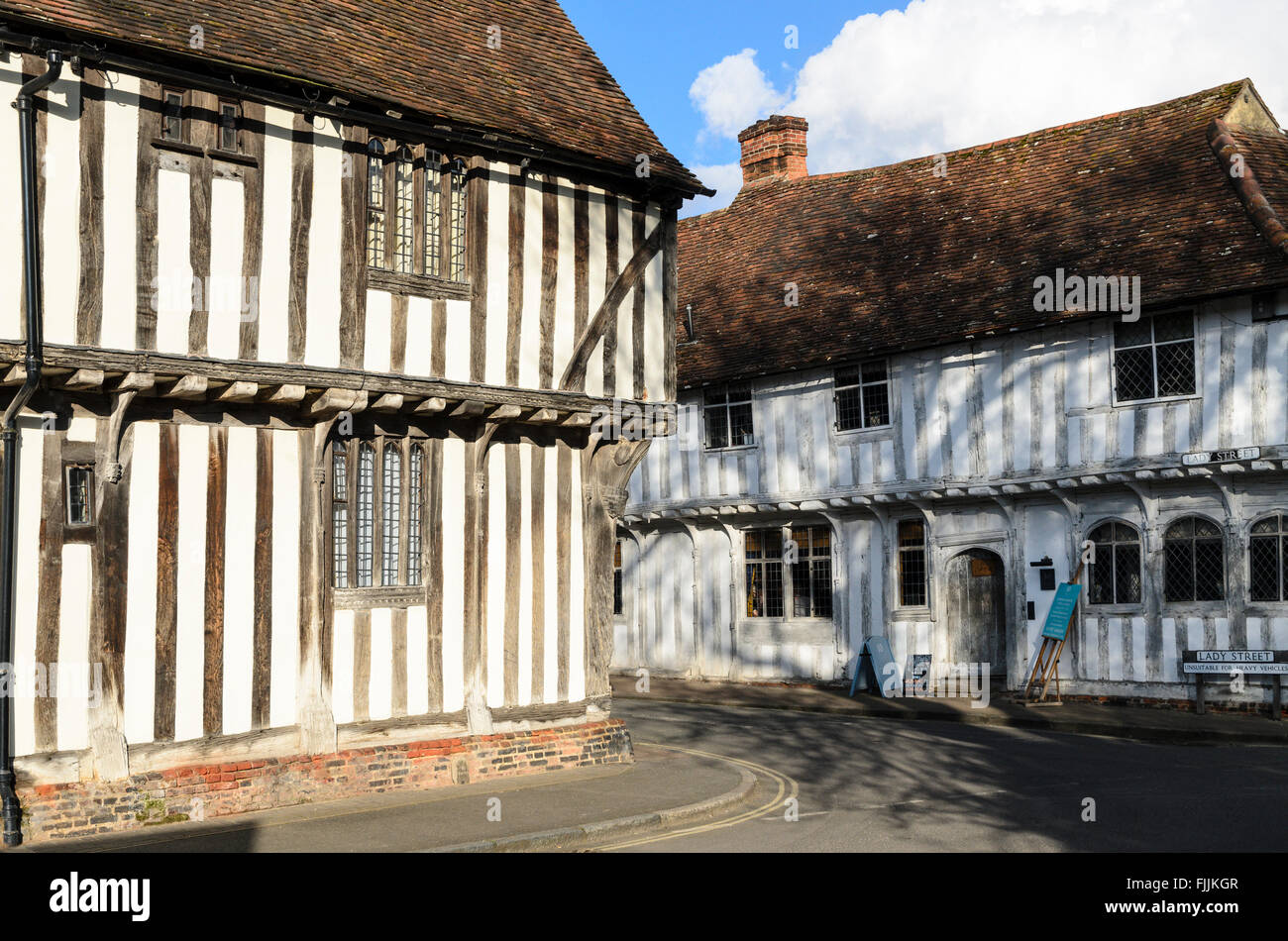 Traditional half-timbered medieval builidings in Lavenham, Suffolk, England, UK. - Stock Image