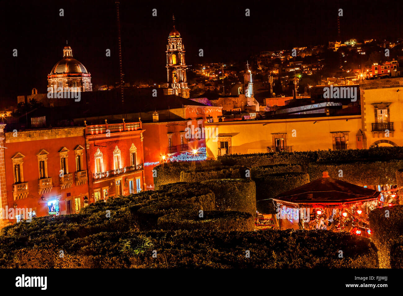 Jardin Town Square Night Stars Christmas Decorations Churches San Miguel de Allende Mexico. - Stock Image