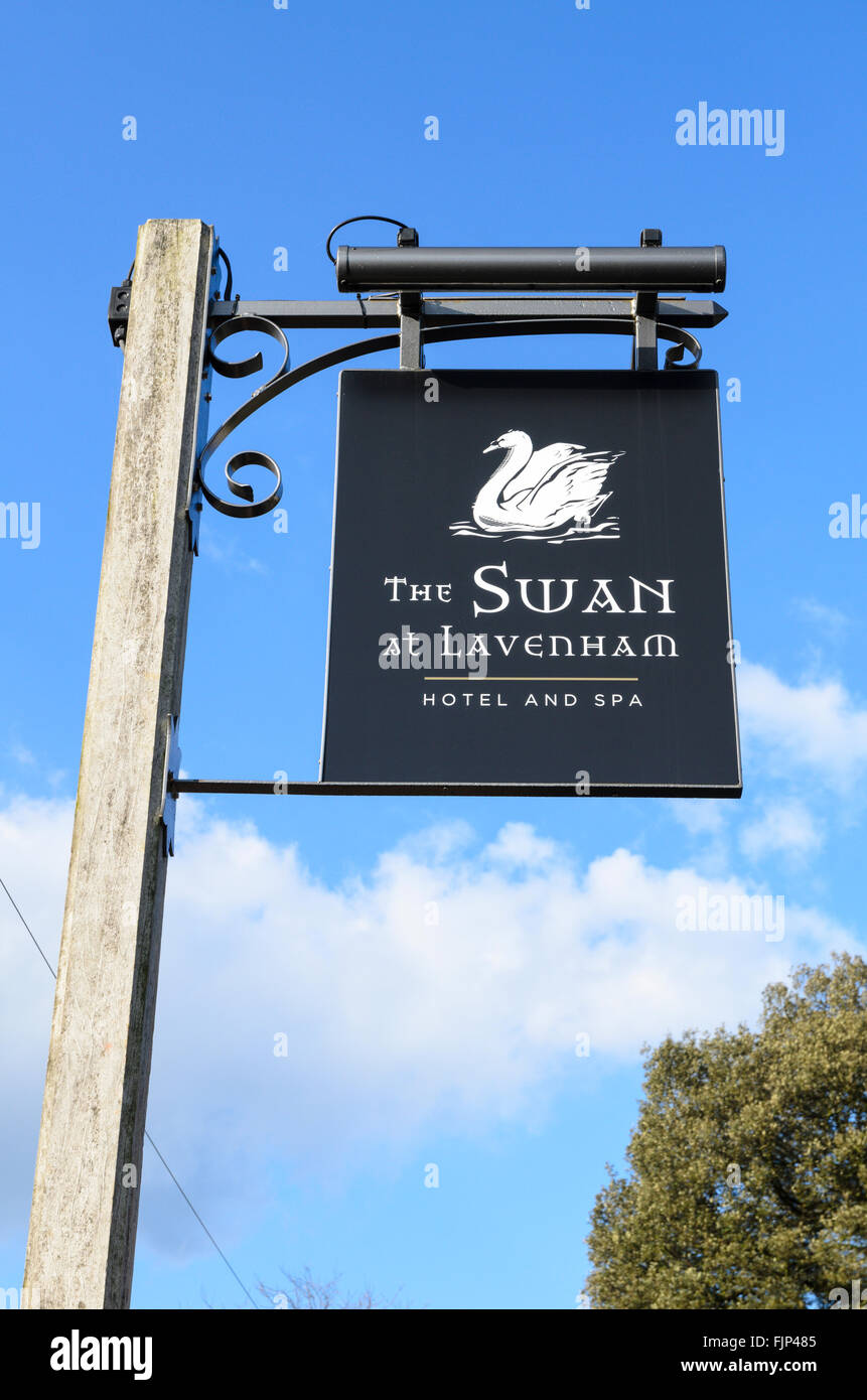 The pub sign of The Swan, Lavenham, Suffolk, England, UK. - Stock Image