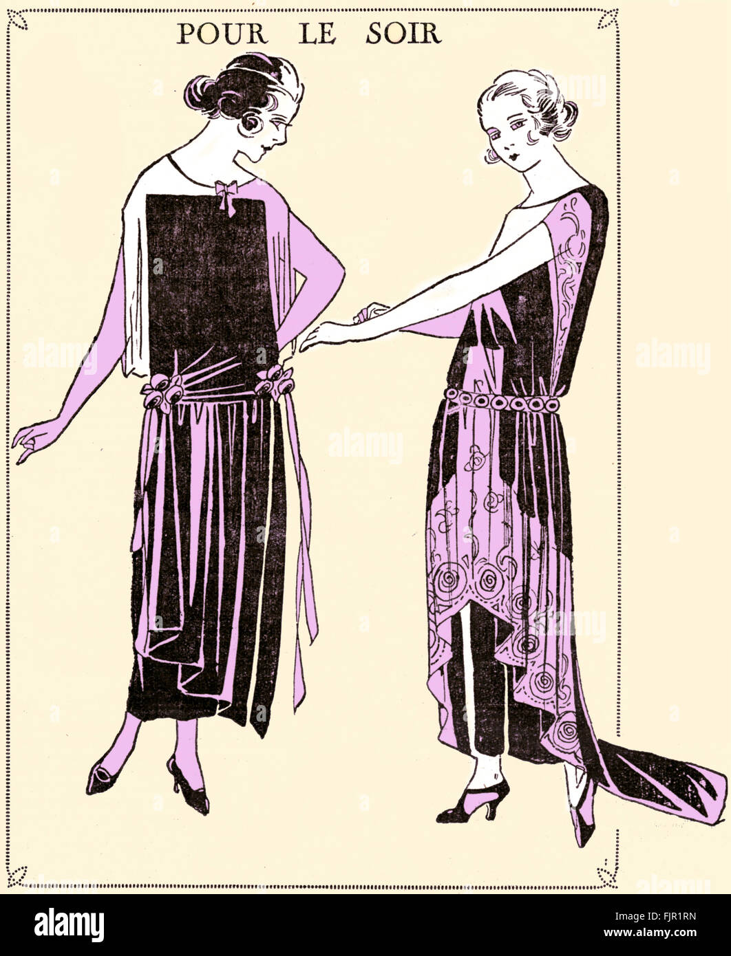 French fashion, 1920s: Evening wear. Published in Le Petit Echo de ...