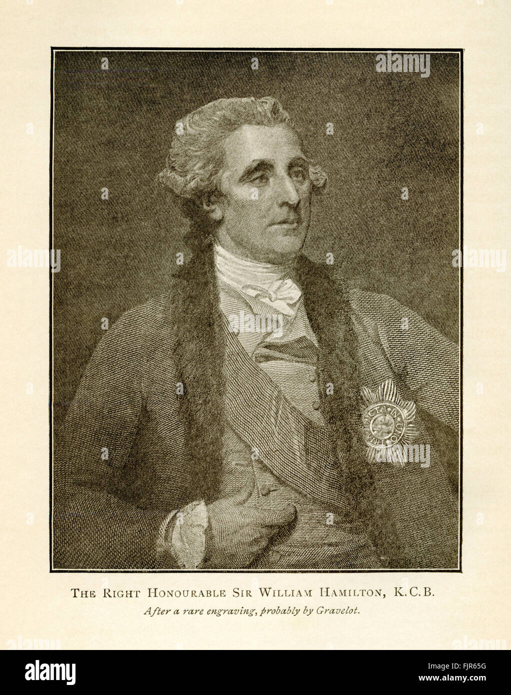 The Right Honourable Sir William Hamilton, K.C.B., from an engraving probably by Hubert-François Bourguignon - Stock Image