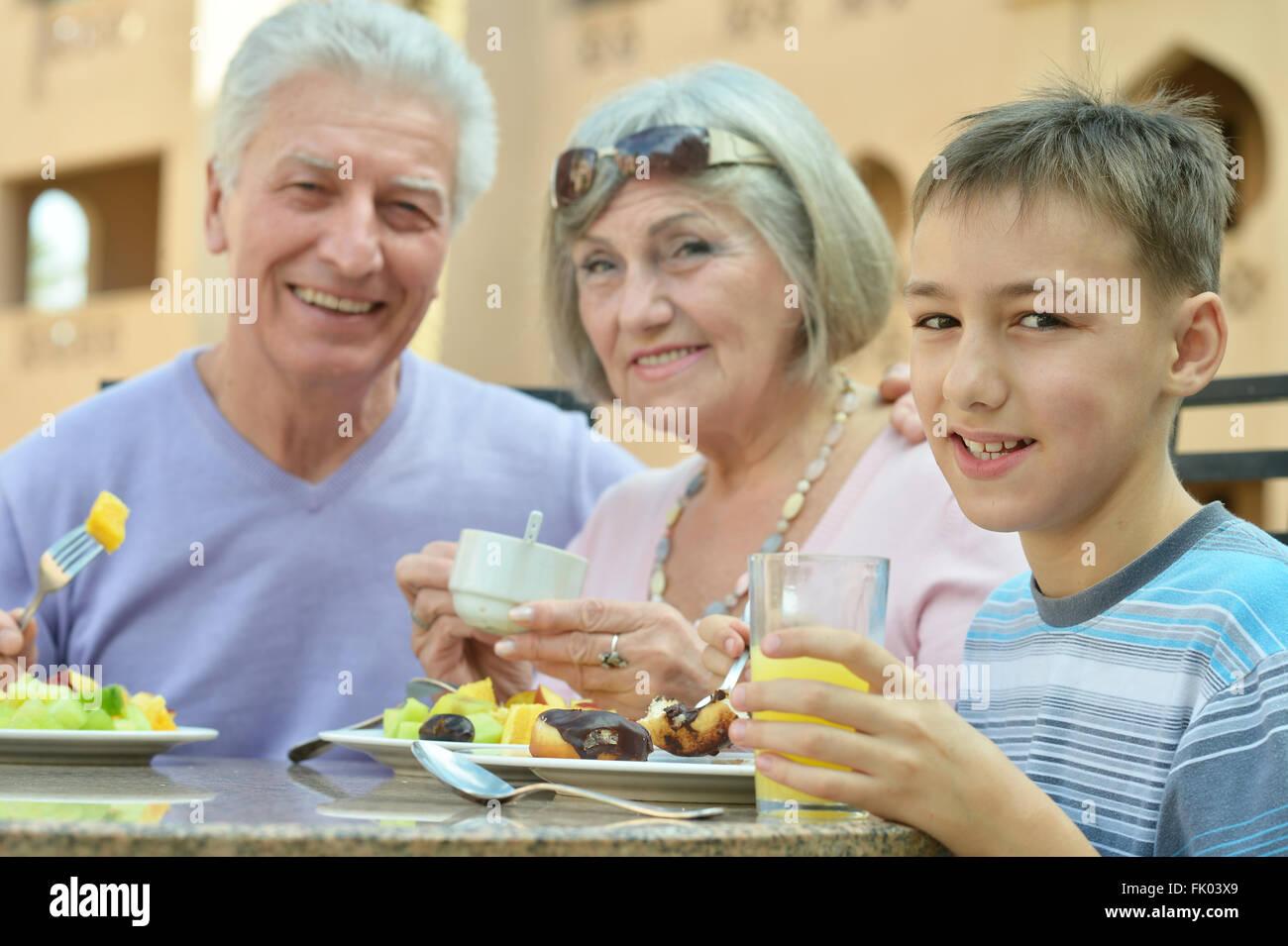 Grandparents with grandchild - Stock Image