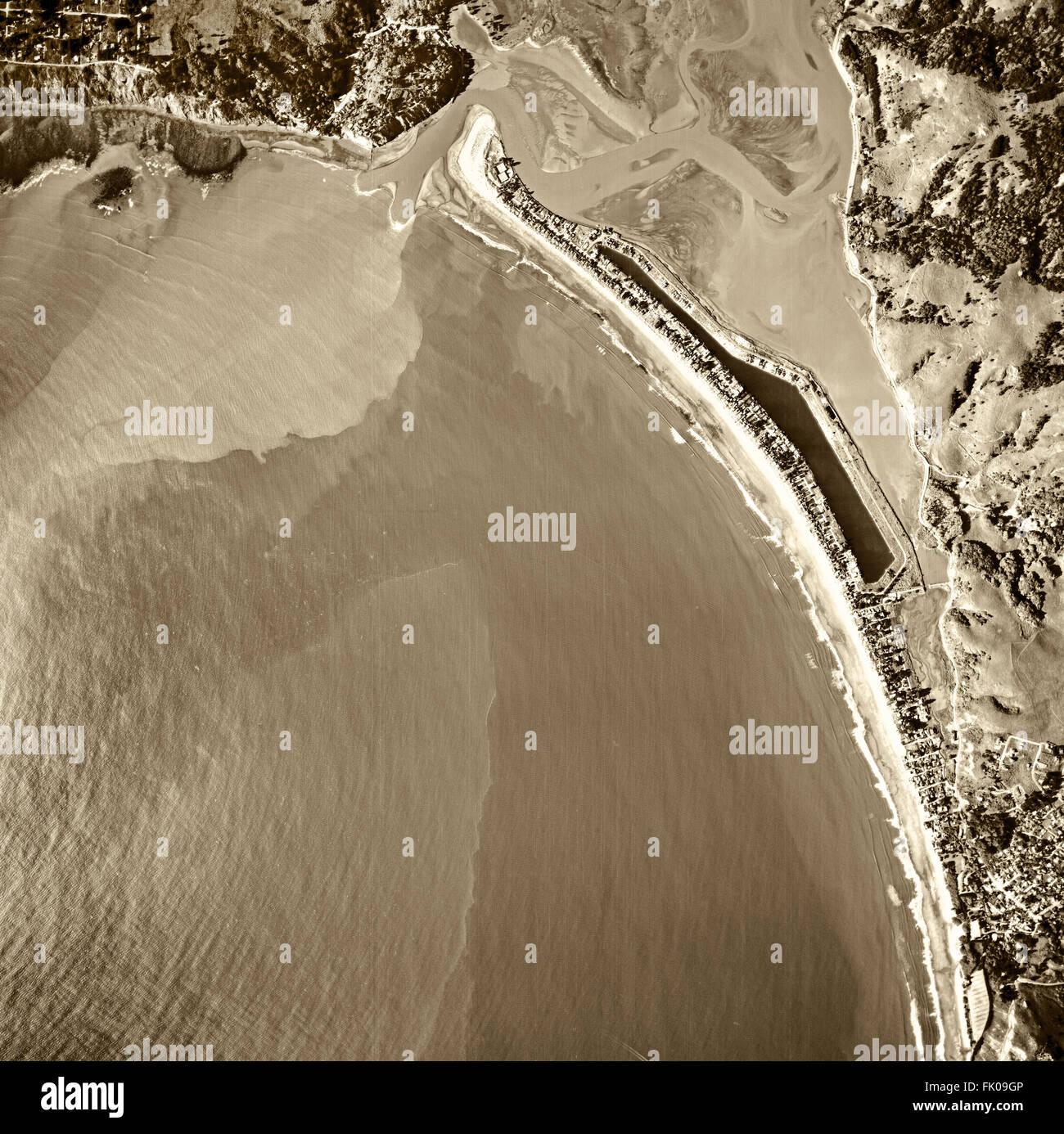 historical aerial photograph of Stinson Beach, Bolinas and the Bolinas Bay and Bolinas Lagoon, Marin County, California, - Stock Image