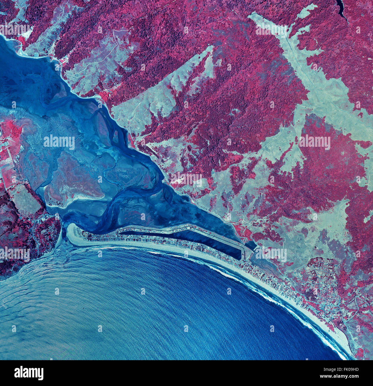 historical infrared aerial photograph of of Stinson Beach, Bolinas and the Bolinas Bay and Bolinas Lagoon, Marin - Stock Image