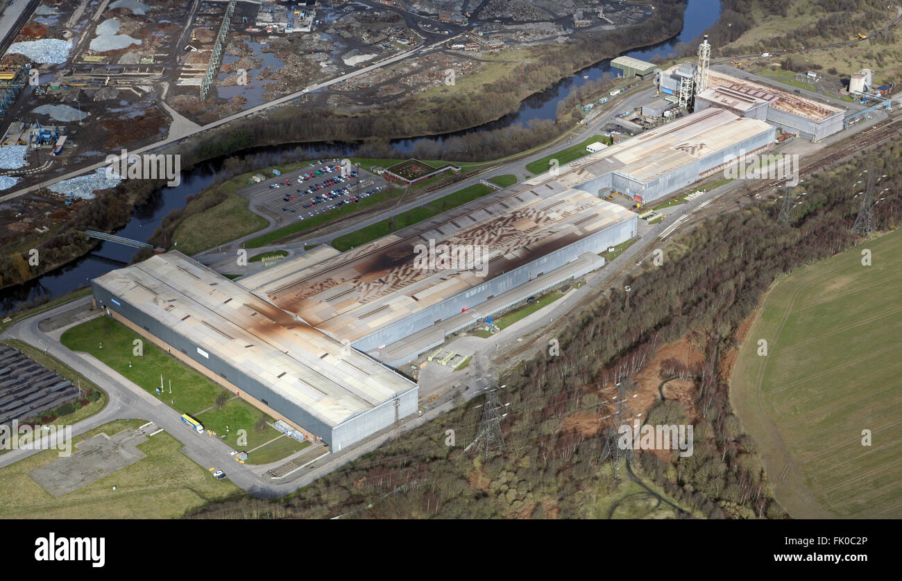 aerial view of part of the Tata Steel production complex at Rawmarsh near Rotherham, South Yorkshire, UK - Stock Image