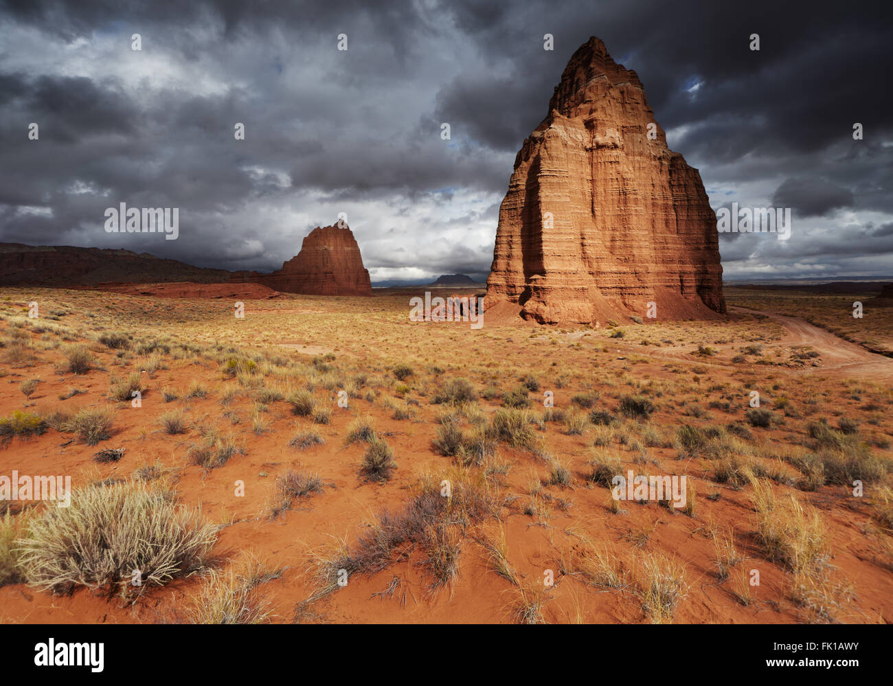 Temple of the Moon in Cathedral Valley, Capitol Reef National Park, Utah, USA - Stock Image