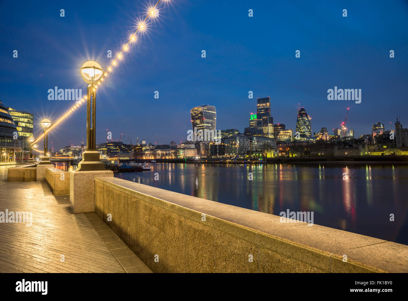 The london Skyline From The Thames - Stock Image