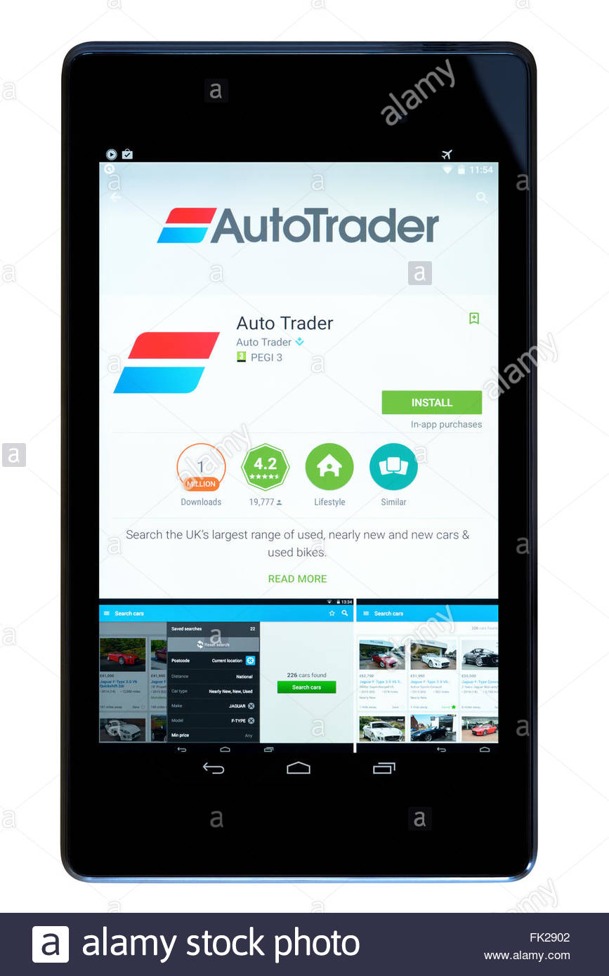 Autotrader used car app on an android tablet PC, Dorset, England, UK ...