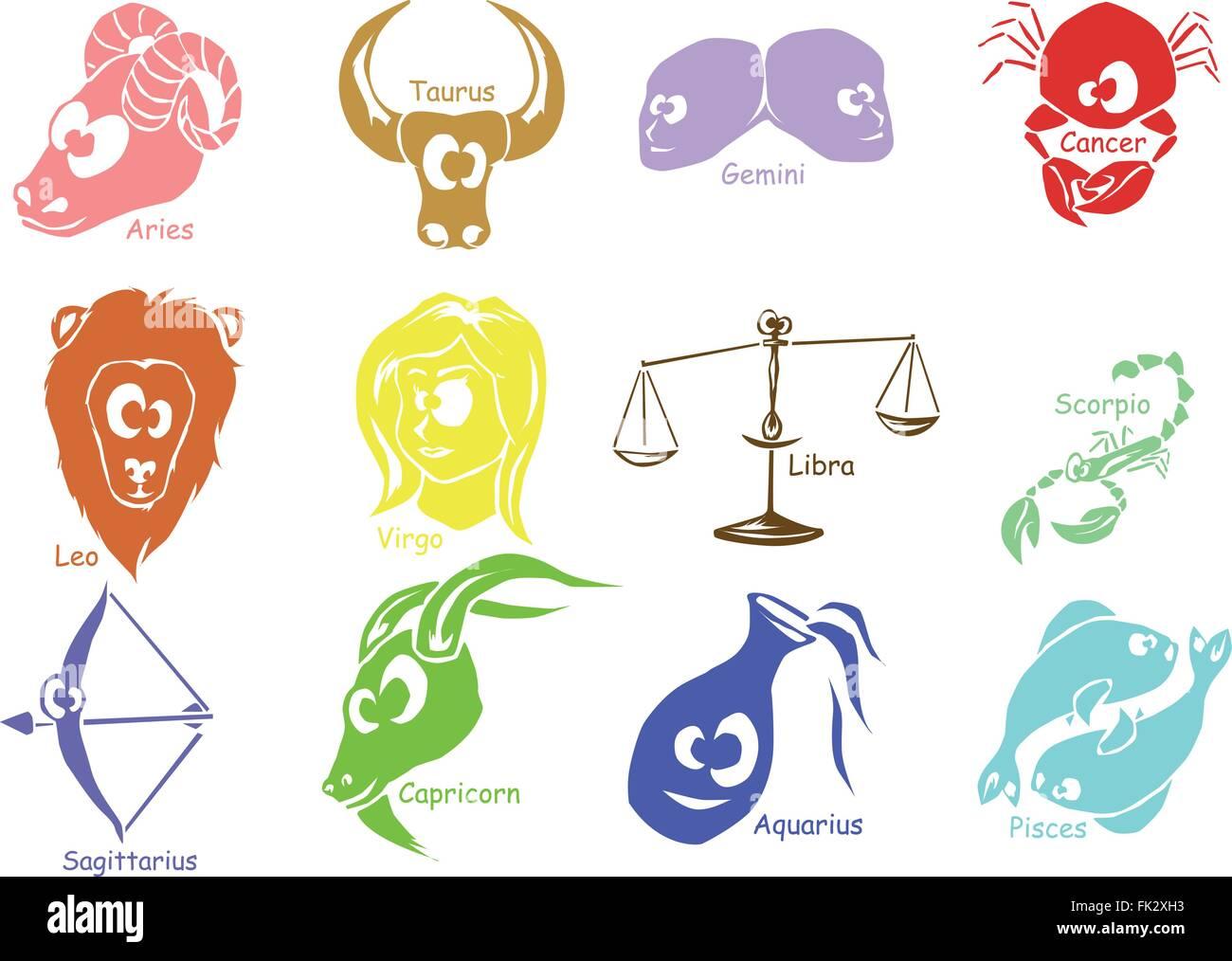 Set Of Astrological Zodiac Symbols Horoscope Signs Funny Face