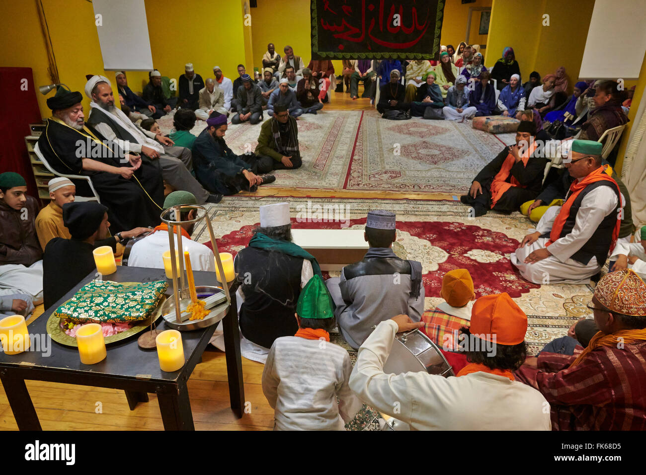 Sufi Muslims gathering in Paris, France, Europe - Stock Image