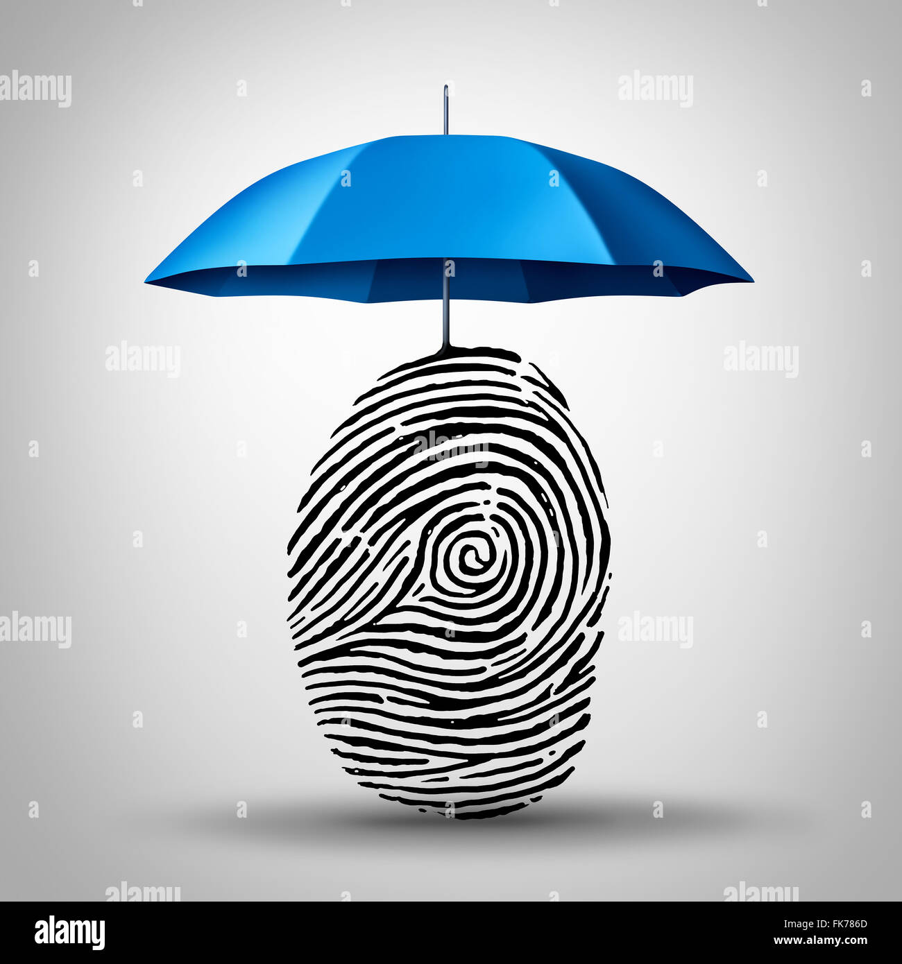 Identification protection and ID fraud safety as an umbrella protecting a fingerprint or finger print icon as an - Stock Image