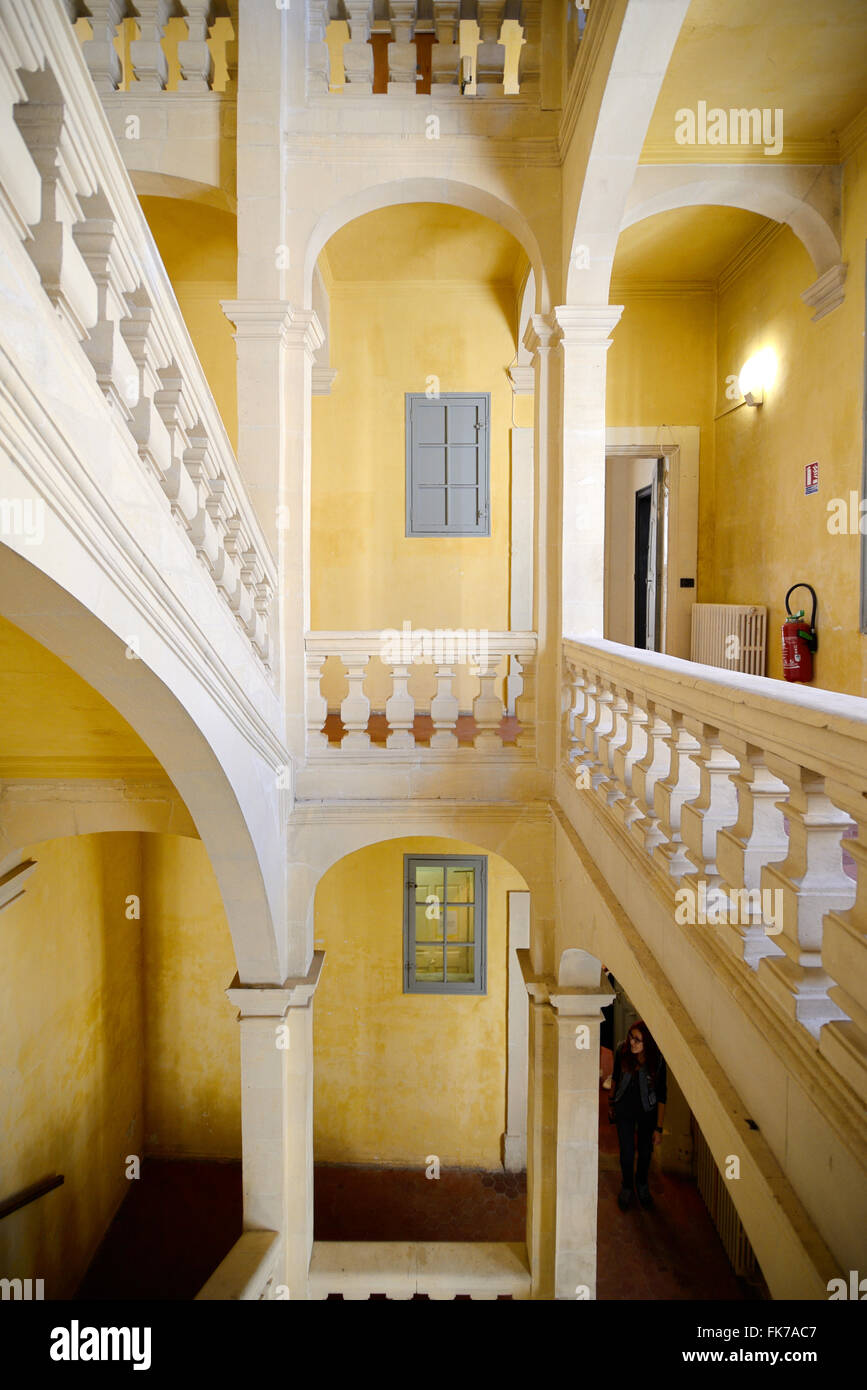 Interior Staircase of c17th Town House Townhouse or Mansion & Galerie 8 Art Gallery Arles Provence France - Stock Image