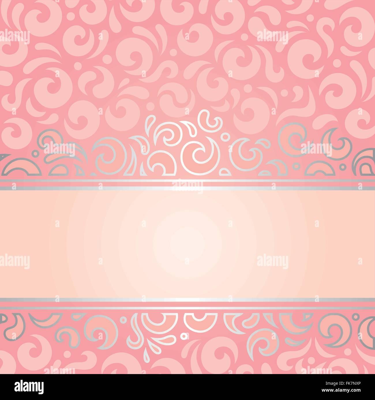 retro decorative pink & silver invitation background vintage stock