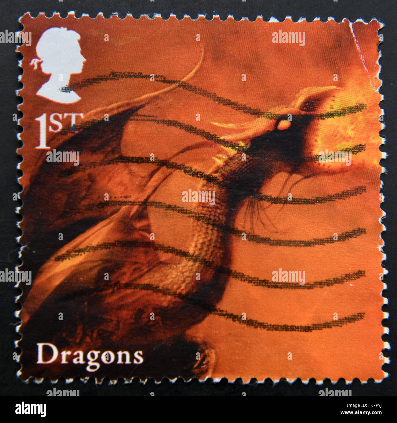 UNITED KINGDOM - CIRCA 2009: A stamp printed in Great Britain dedicated to Mythical Creatures, shows dragon, circa - Stock Image