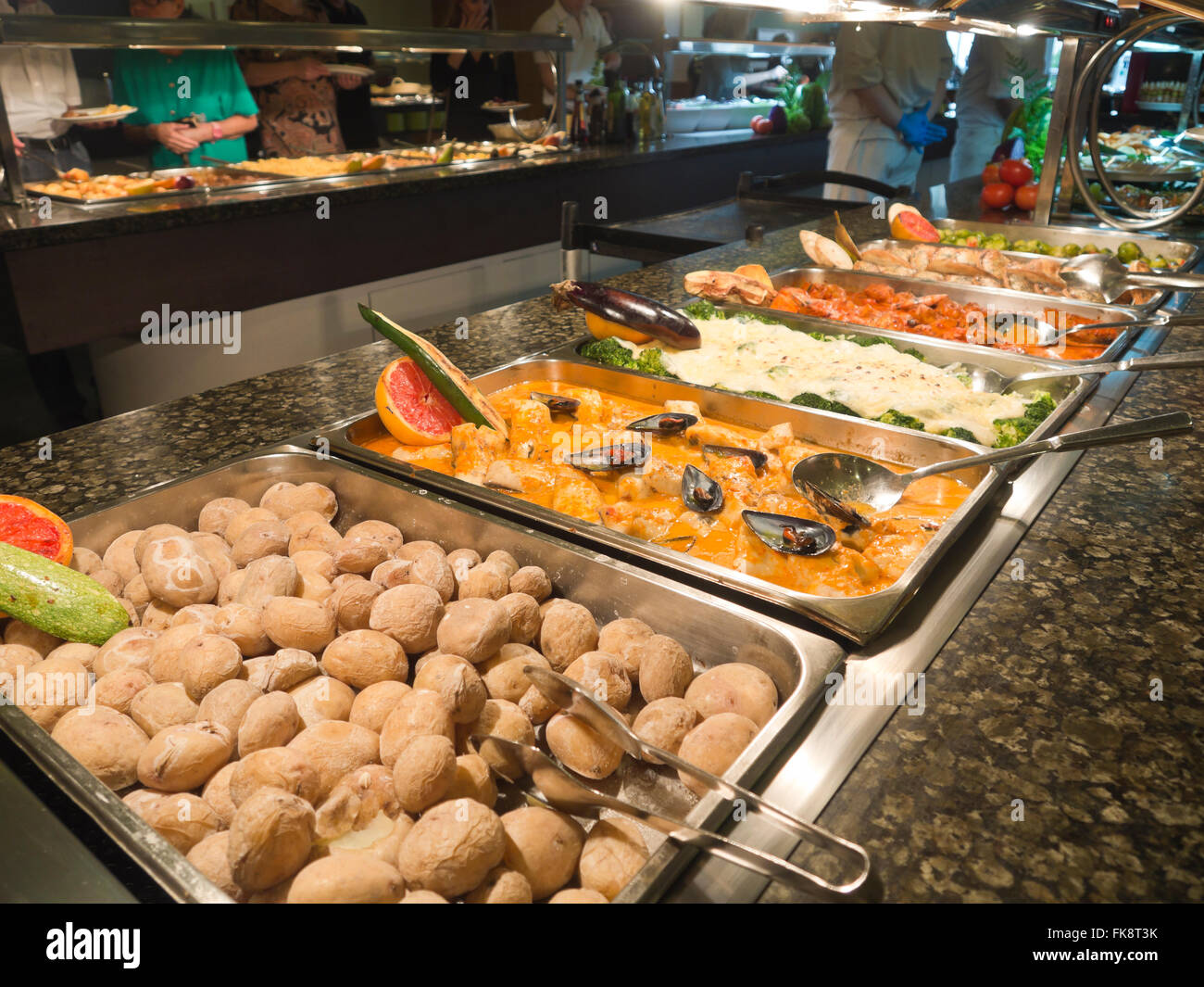 Dinner Or Lunch Buffet Table In An All Inclusive Hotel Resort Tenerife Canary Islands Spain