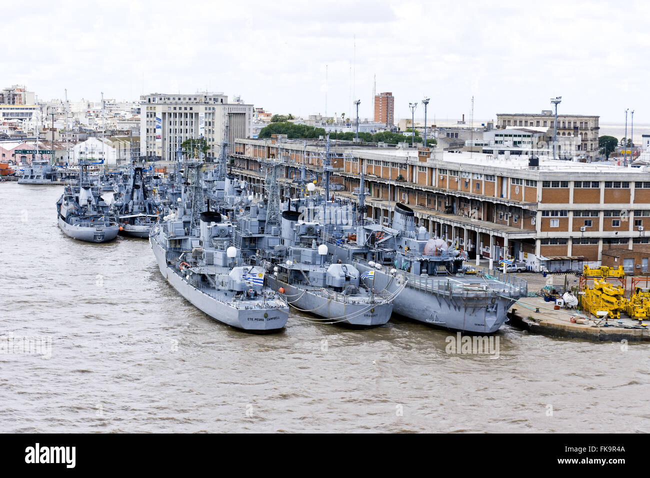 Port of Montevideo - warships - Stock Image