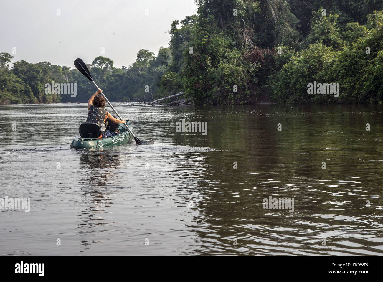 Canoeing on the Rio Cristalino - Stock Image