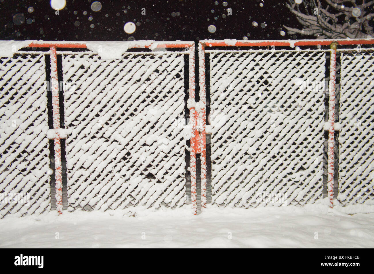wire fence gate, winter, snow, snowfall, night photo Stock Photo ...