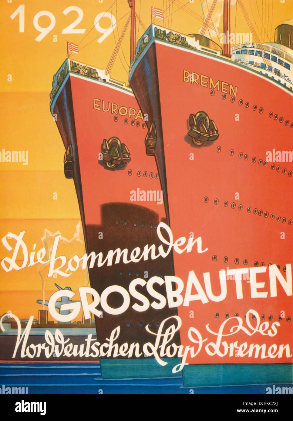1920s UK Norddeutscher Lloyd Bremen Poster - Stock Image