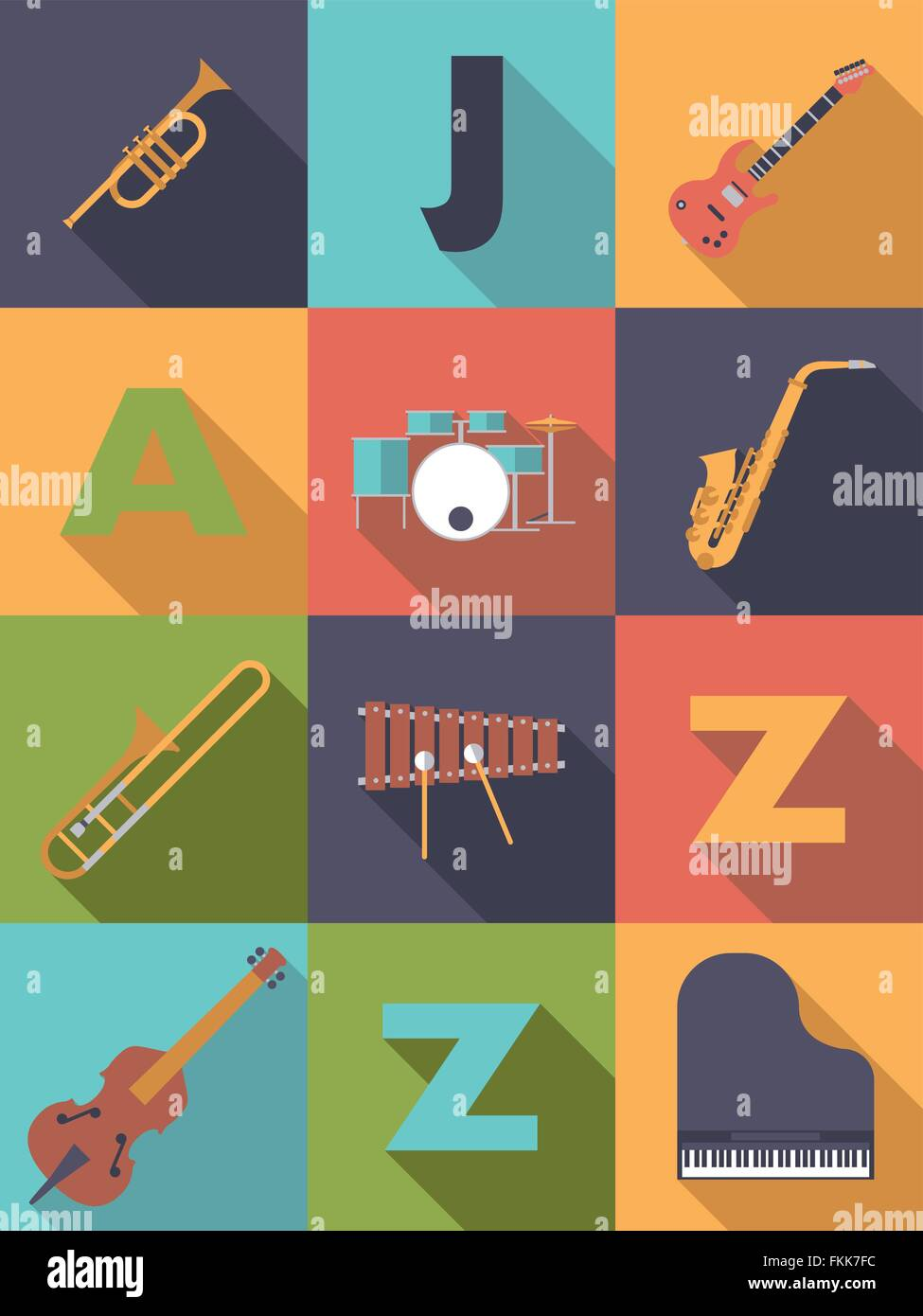 Jazz Music Poster With Flat Design Musical Instruments Symbols Stock