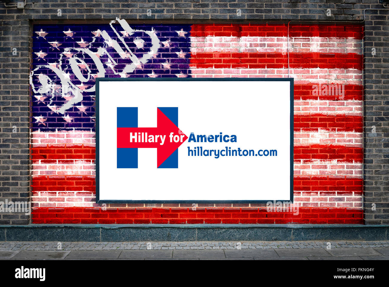hillary clinton 2016 presidential campaign poster on a billboard
