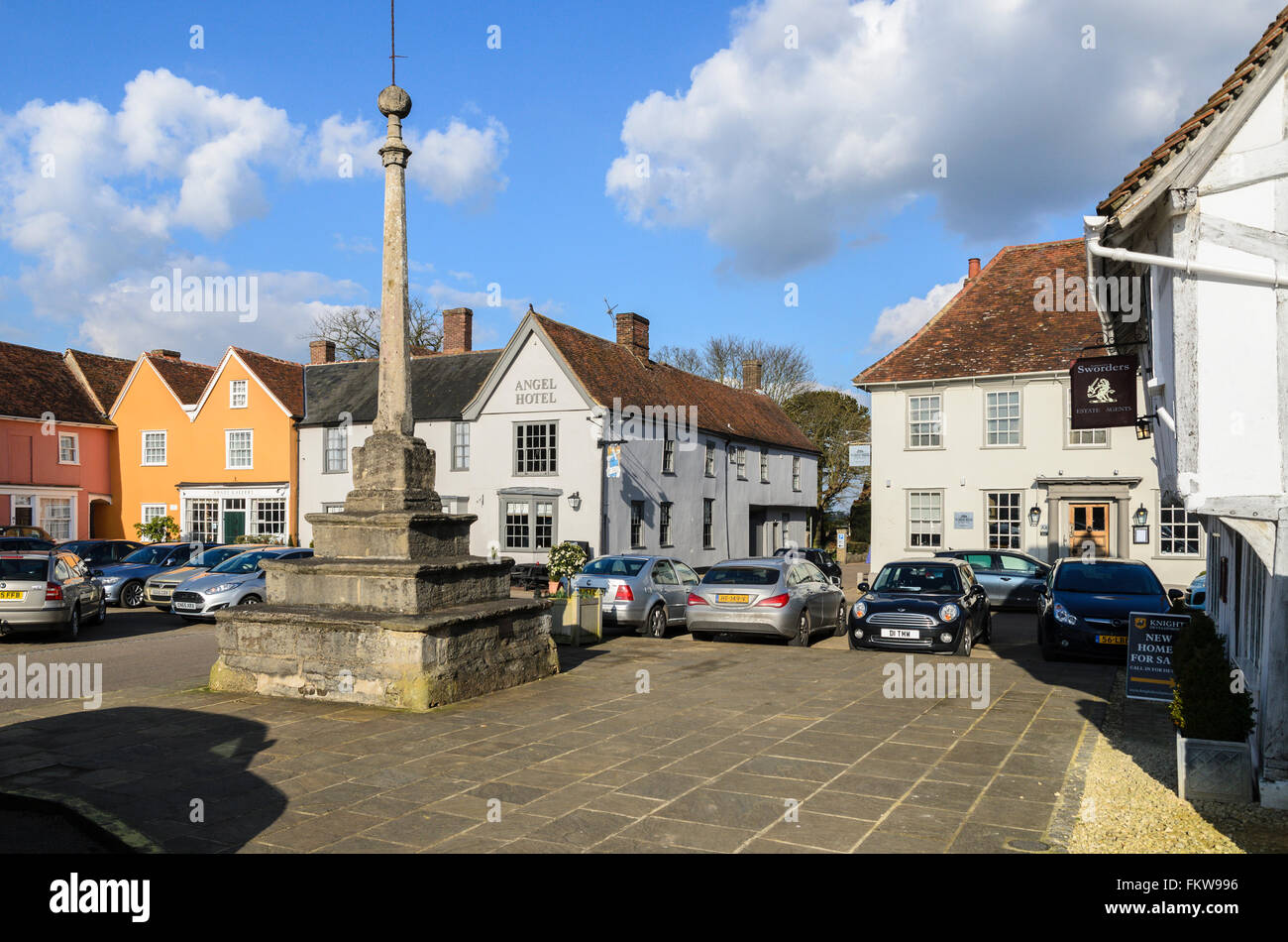 The historic Market Place, Lavenham, Suffolk, England, United Kingdom. Stock Photo