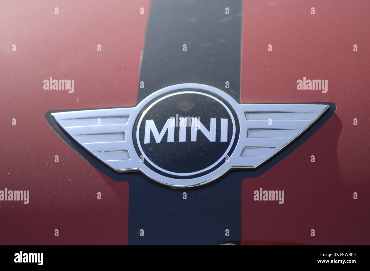 The Mini is a small economy car made by the British Motor Corporation (BMC) and its successors from 1959 until 2000 - Stock Image