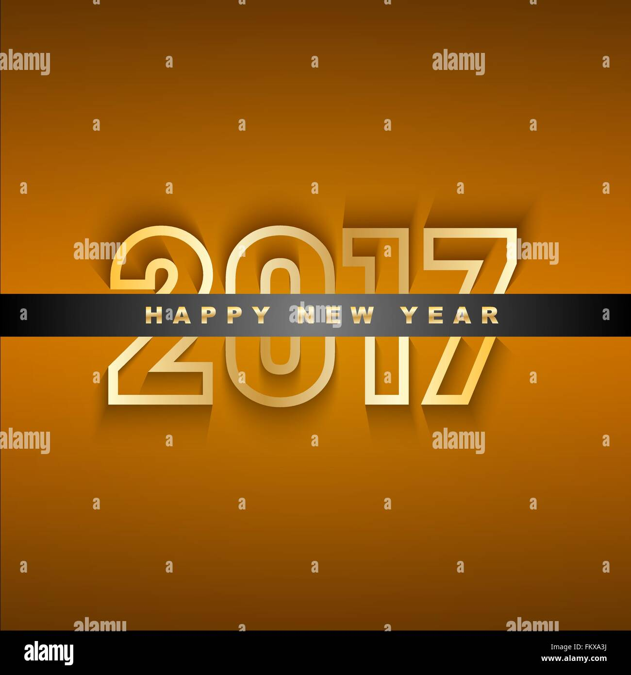 Golden 2017 New Year Greeting Card Stock Vector Art Illustration