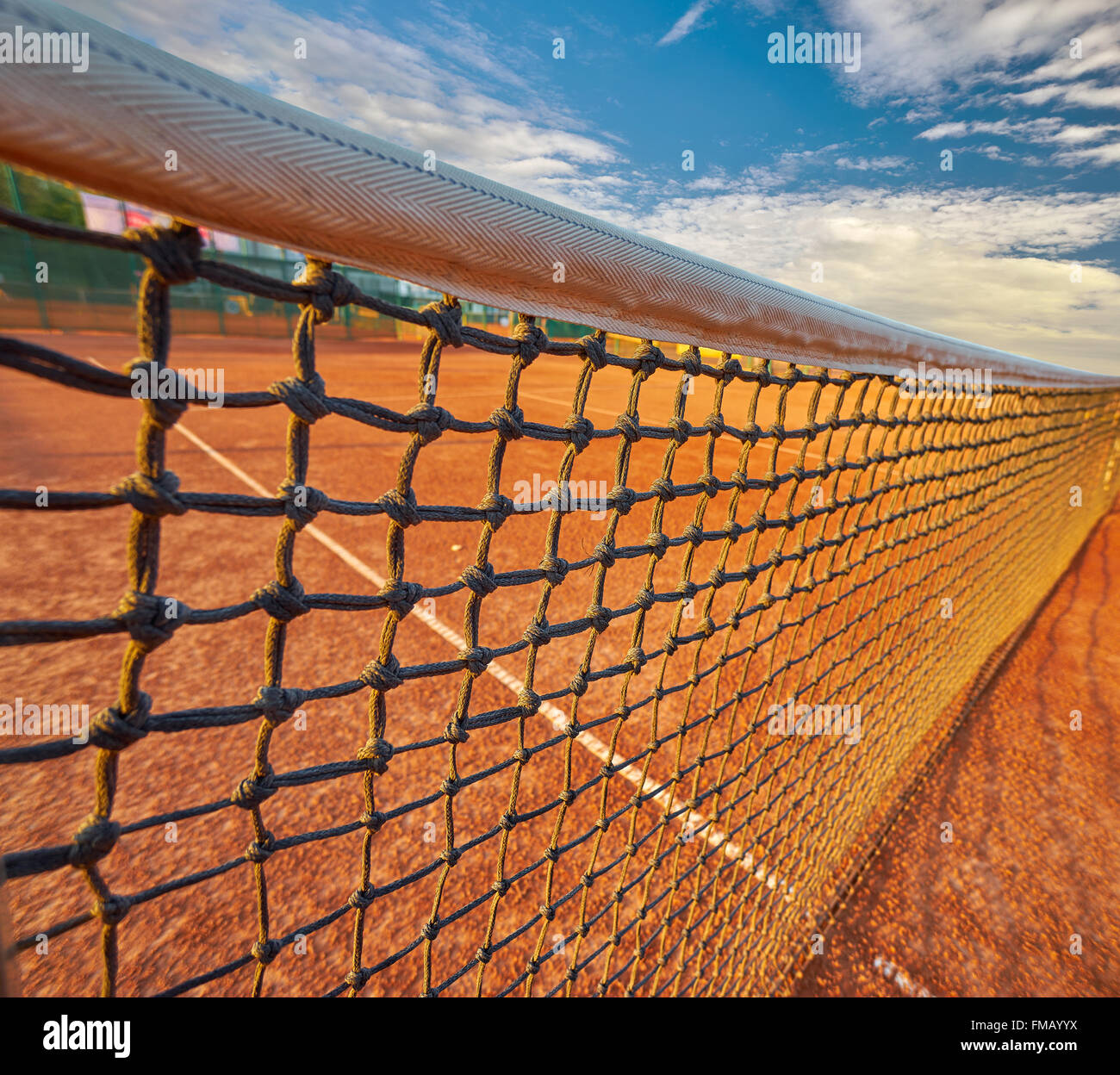 Tennis Grid on Tennis Court Background - Stock Image