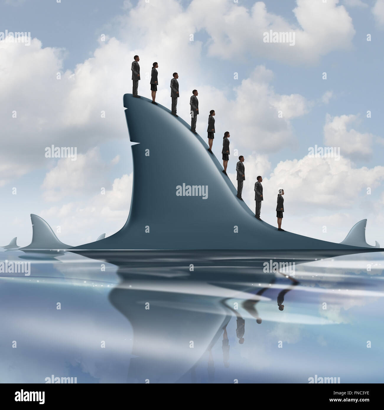 Concept of risk business metaphor as a group of courageous or unaware businesspeople standing on the dorsal fin - Stock Image