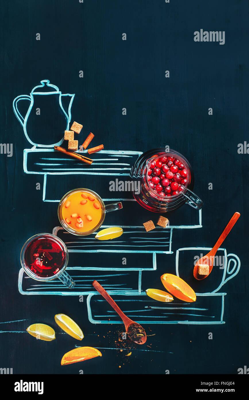 Tea with drawn book - Stock Image