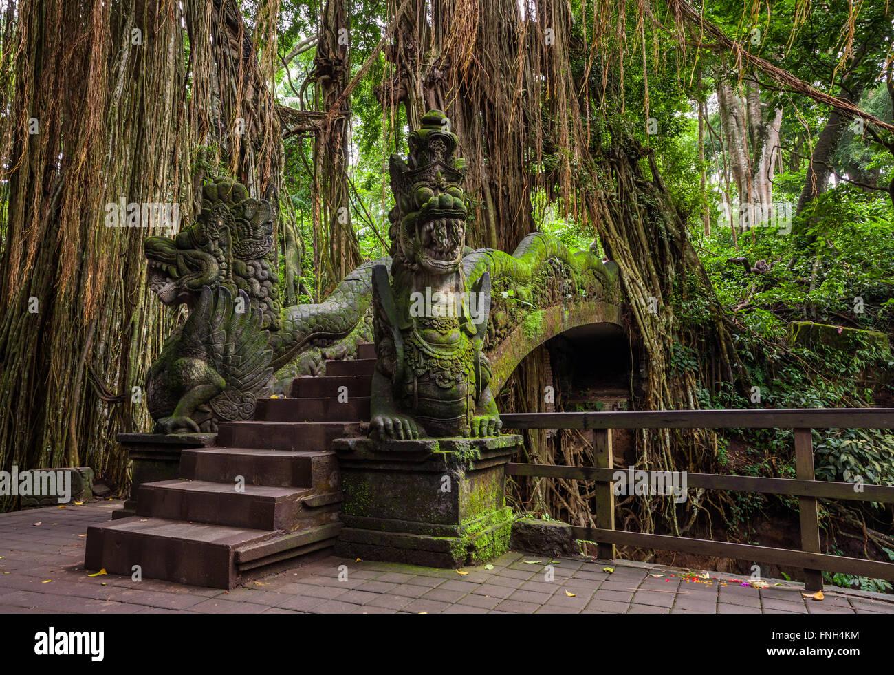 Dragon Bridge in Sacred Monkey Forest Sanctuary, Ubud, Bali, Indonesia Stock Photo