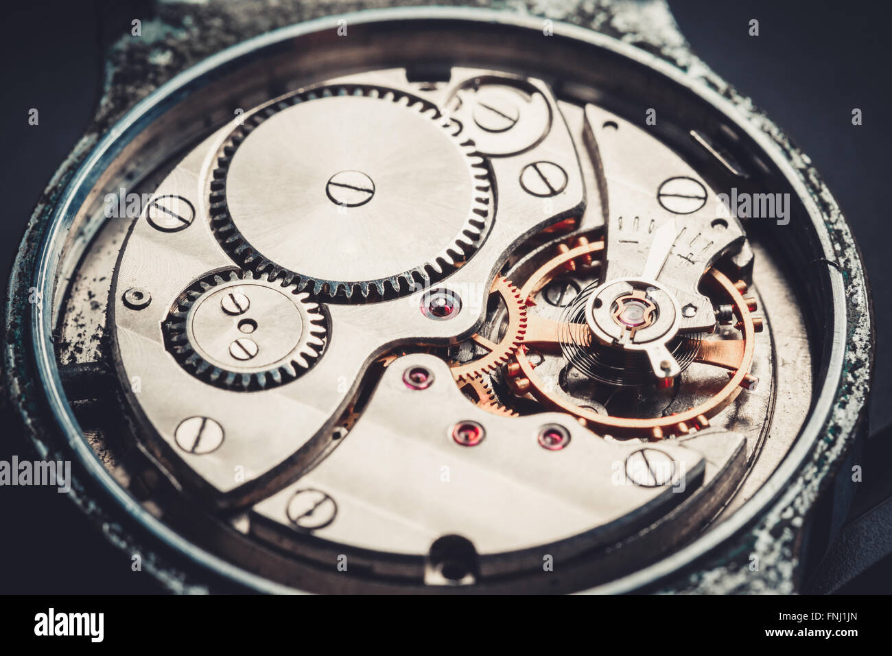 mechanism antique vintage wrist watch beautiful original black and metallic background Stock Photo