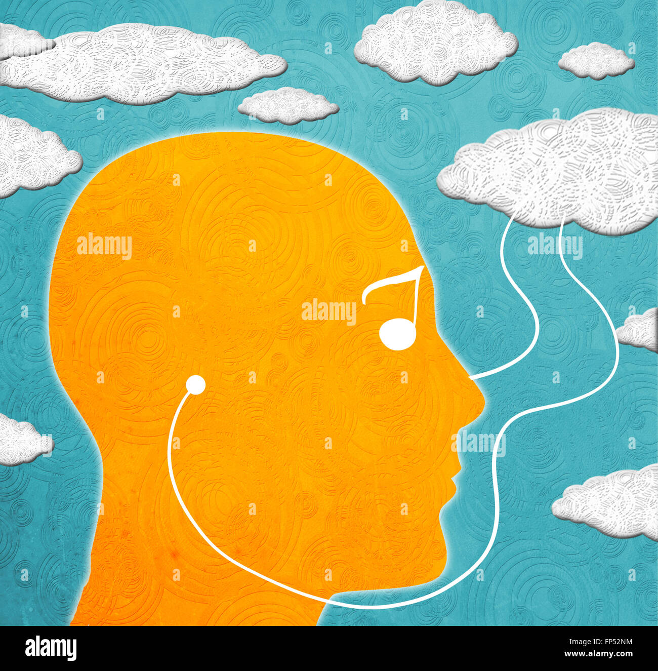 cloud computing music digital illustration - Stock Image