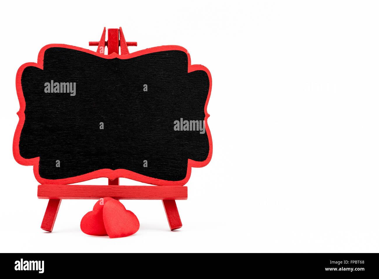 Red frame wooden easel mini blackboard with chalkboard surface ...