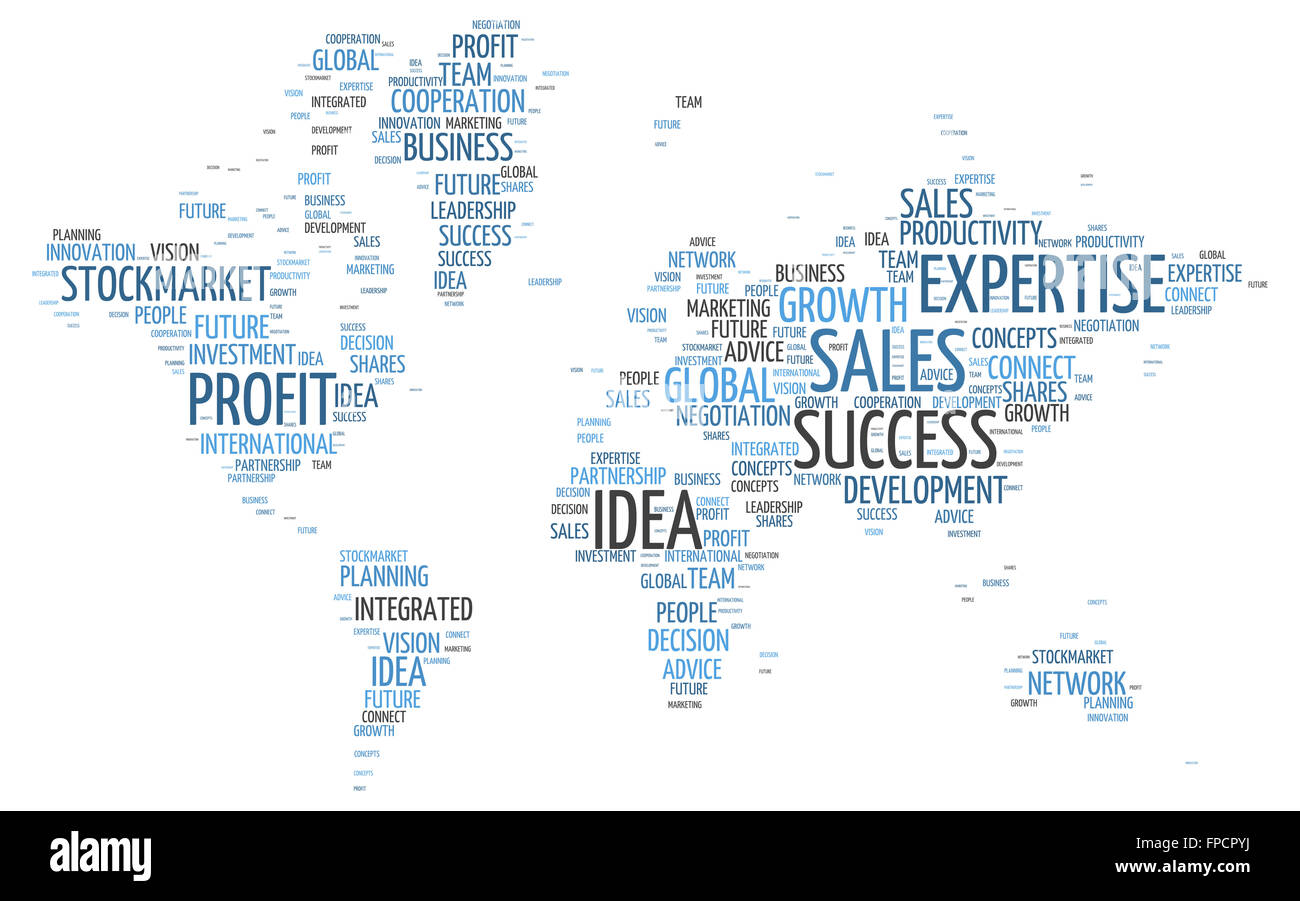 Conceptual world map in a simple business word tag cloud design on a conceptual world map in a simple business word tag cloud design on a white background gumiabroncs Images