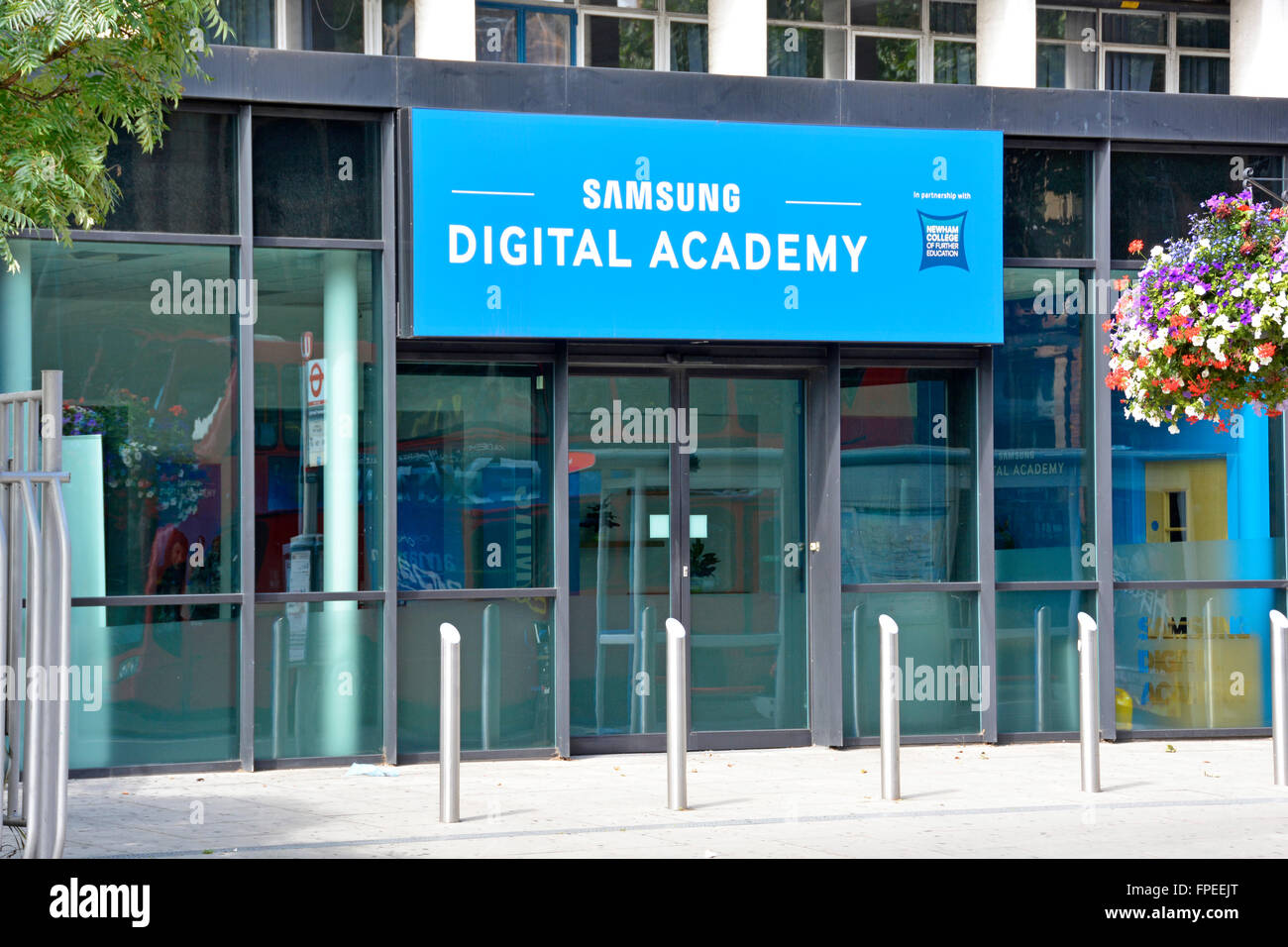 East Ham Newham sign above entrance to Samsung Digital Academy educating young people in partnership with Newham - Stock Image