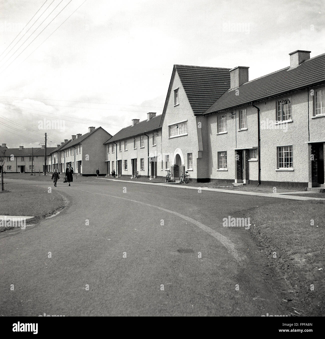 1950s historical, new housing estate at Clane, County Kildare, Ireland. - Stock Image