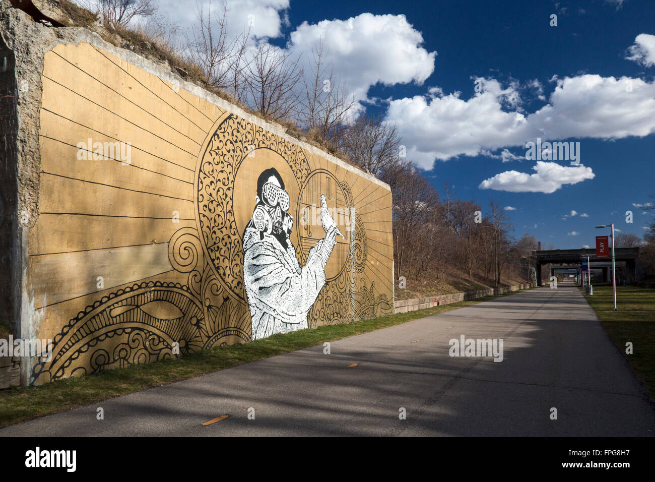 Detroit, Michigan - Artwork along the Dequindre Cut Greenway, a hiking/biking path which follows the route of a Stock Photo