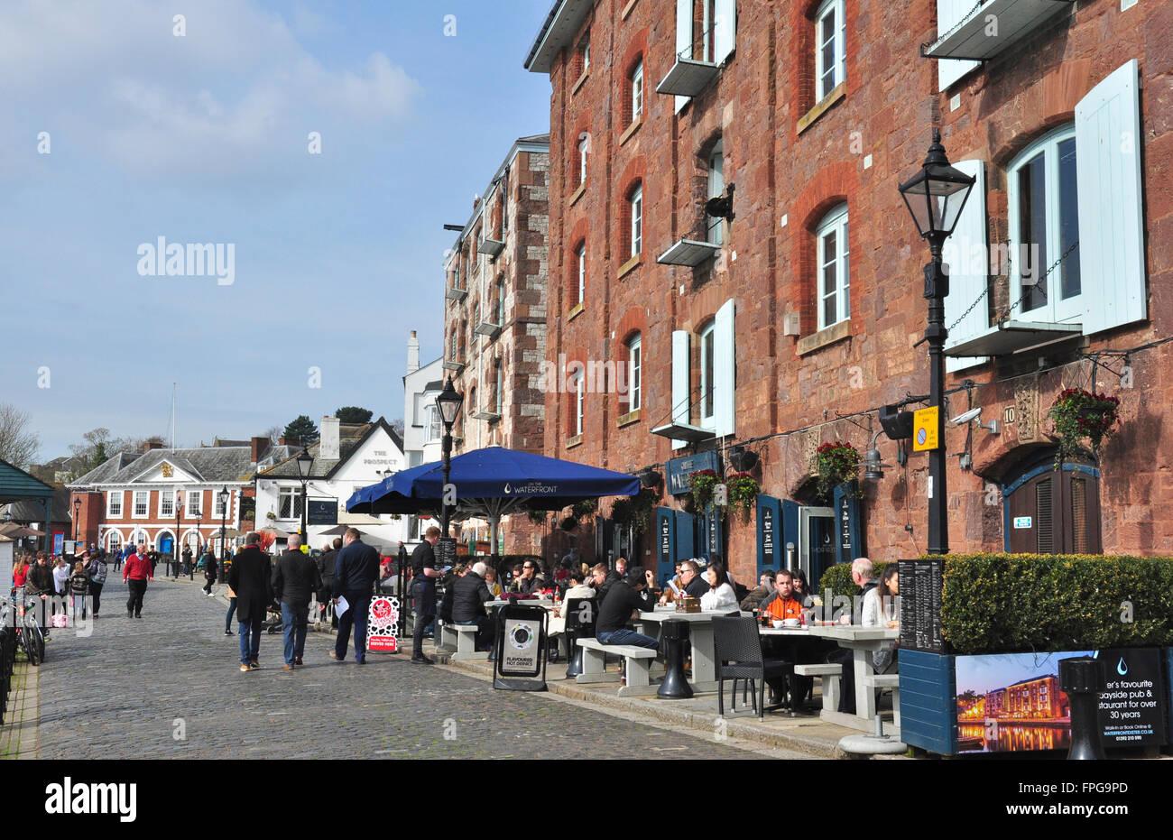 Quayside Restaurants Exeter Devon England Uk Stock Photo