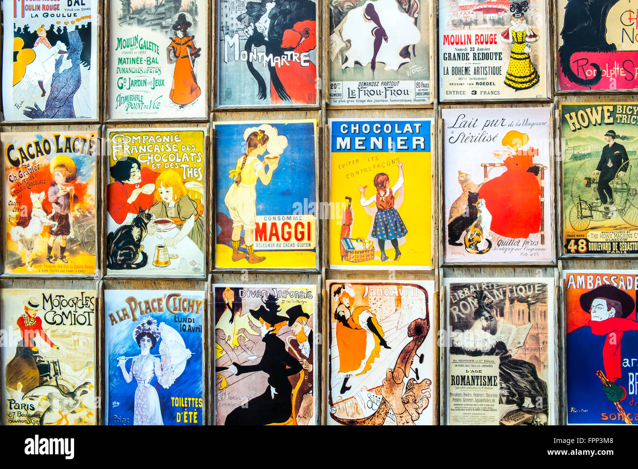 French Advertising Signs, Paris, France - Stock Image