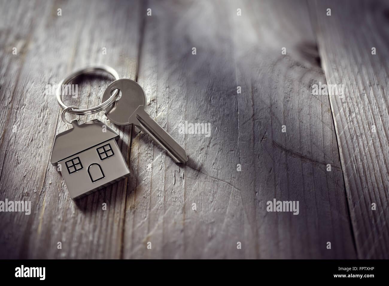 House key on keyring - Stock Image