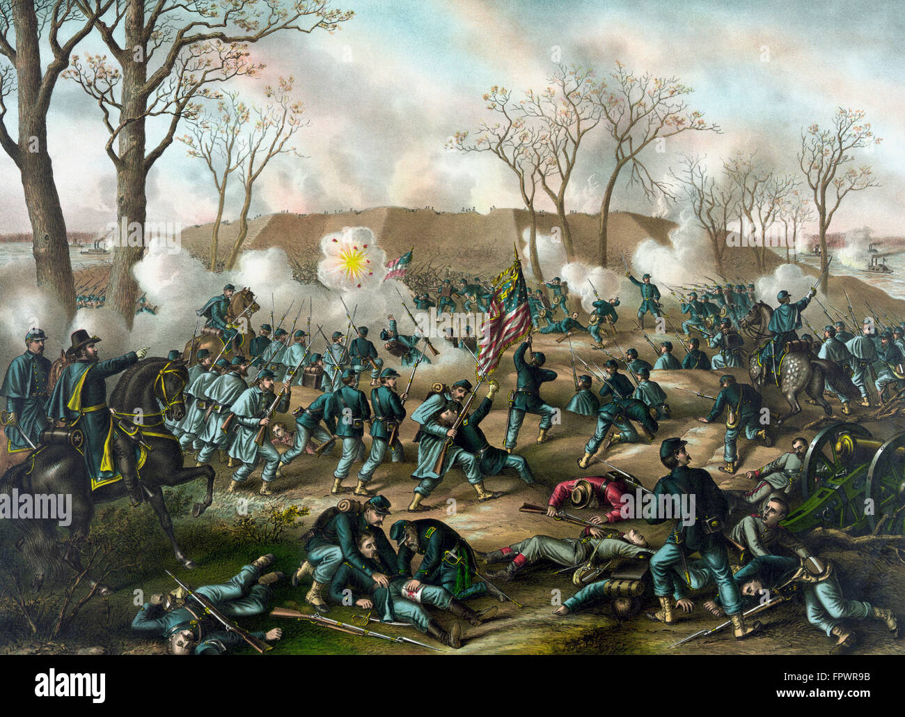 Civil War print of Union and Confederate troops fighting at The Battle of Fort Donelson. The capture of the fort - Stock Image